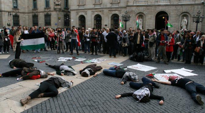 Fotografies de la concentració a Barcelona per rebutjar els atacs israelians