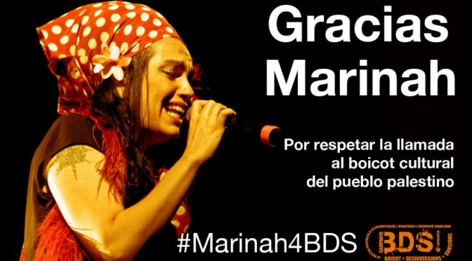 MARINAH, FIRST SINGER IN SPAIN TO CANCEL CONCERTS IN ISRAEL